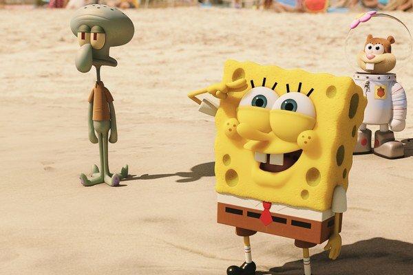 V rozprávke Spongebob vo filme: Hubka na suchu  je zámerne zjednodušená animácia.