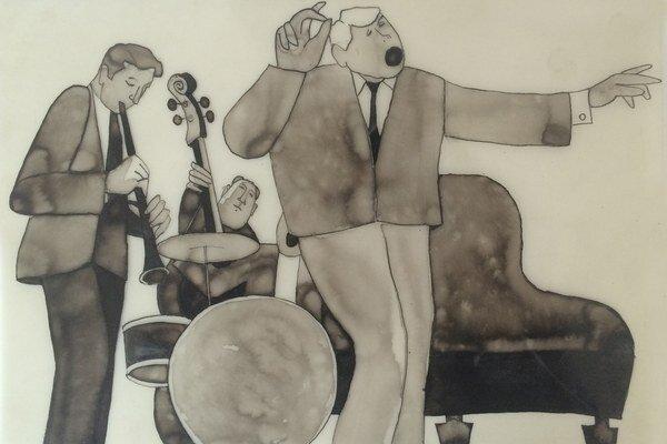 """Jan Meisner pri svojej školskej práci """"Jazz"""" Kalendár použil plastovú fóliu a mastnú kriedu. Vysoká škola uměleckoprůmyslová, Praha."""
