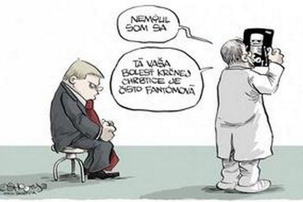 """Karikatúra Shootyho z roku 2009, na ktorej premiérovi chýba chrbtová kosť, reagovala na informáciu jeho úradu, že pre """"akútne bolesti krčnej chrbtice"""" ruší svoj program. Predseda vlády podal žalobu, po štyroch rokoch ju stiahol."""