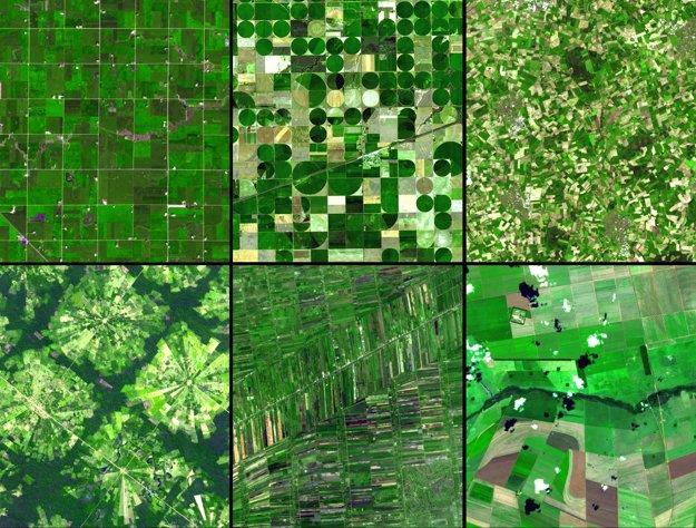 Rozdiely v poľnohospodárskych postupoch v (zľava hore) Minnesote, Kansase, severozápadnom Nemecku, Santa Cruz v Bolívii, Bangkoku v Thajsku a v Cerrado v južnej Brazílii.