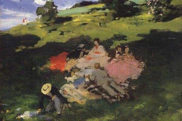 Pál Szinyei Merse: Majáles, štúdia I. 1872 – 1873. Szépművészeti Múzeum – Magyar Nemzeti Galéria, Budapest.