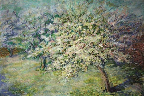 Želmíra Duchajová-Švehlová: Rozkvitnutá jabloň, okolo 1915. Galéria Nedbalka, Bratislava.
