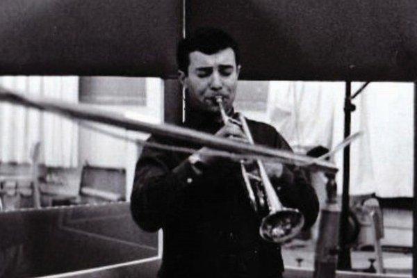 Ladislav Martoník pri nahrávaní platne Československý Jazz 1965 v Prahe.