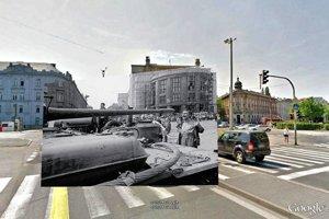 Známy obraz zo Šafárikovho námestia v Bratislave, 1968. Pôvodná fotografia: Ladislav Bielik