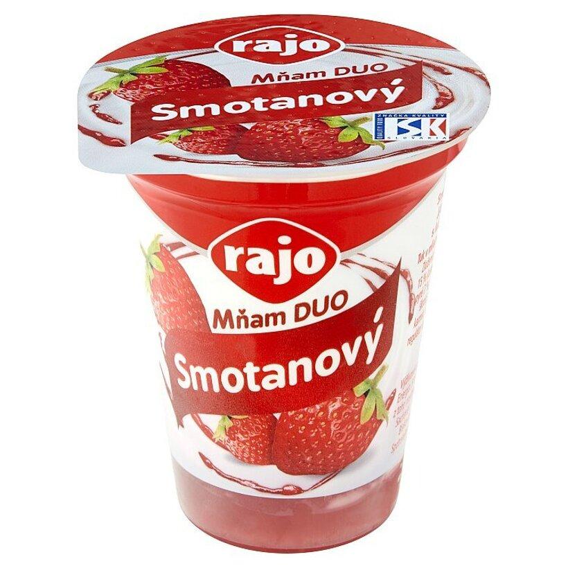 Rajo Mňam Duo Smotanový jogurt jahodový s kúskami jahôd 145 g