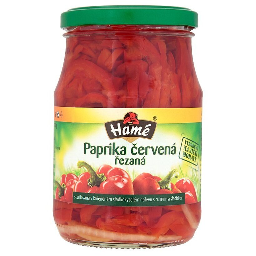 Hamé Červená paprika rezaná v korenenom sladkokyslom náleve s cukrom a sladidlami 340 g