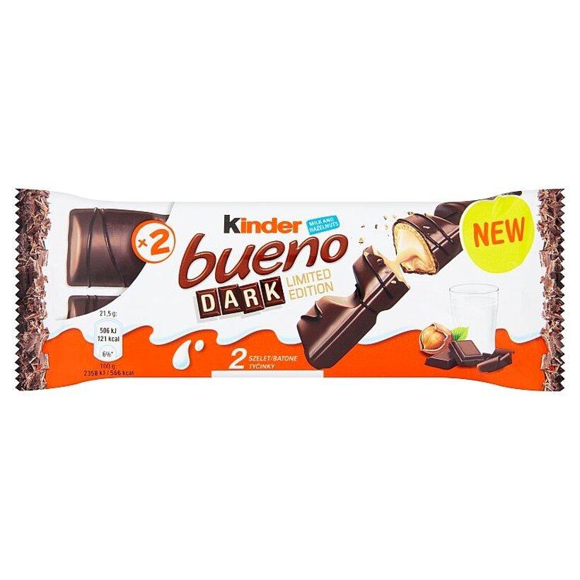Kinder Bueno Dark oblátky s mliečnou a lieskovcovou náplňou v poleve z horkej čokolády 2 x 21,5 g