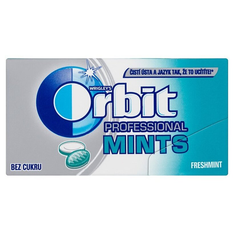 Wrigley's Orbit Professional Mints Freshmint cukríky bez cukru s príchuťou sviežej mäty 18 g