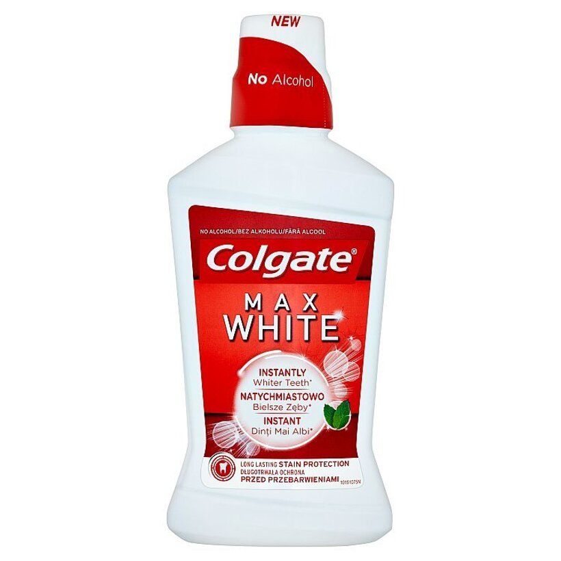Colgate Max White ústna voda bez alkoholu 500 ml