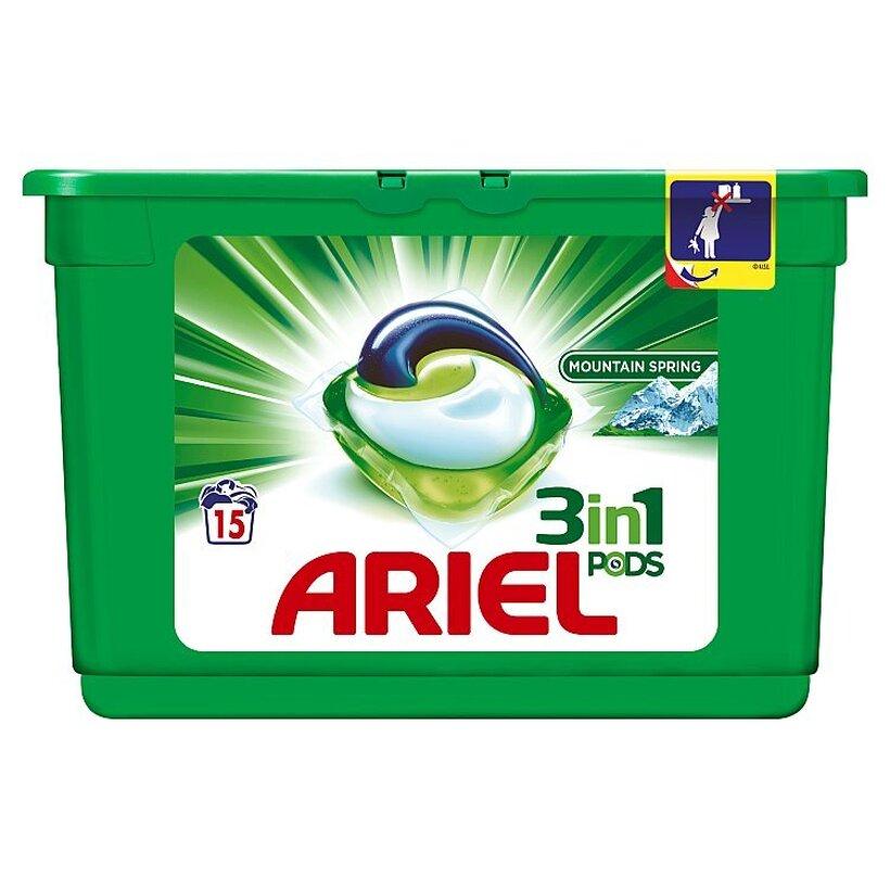 Ariel Mountain Spring 3v1 gélové kapsuly na pranie bielizne, na 15 praní