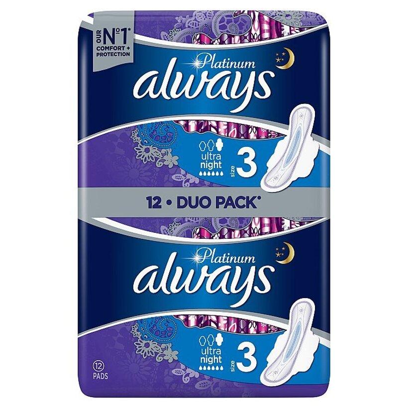 Always Platinum Night Menštruačné Vložky S Krídelkami (Veľkosť 3) 12 ks