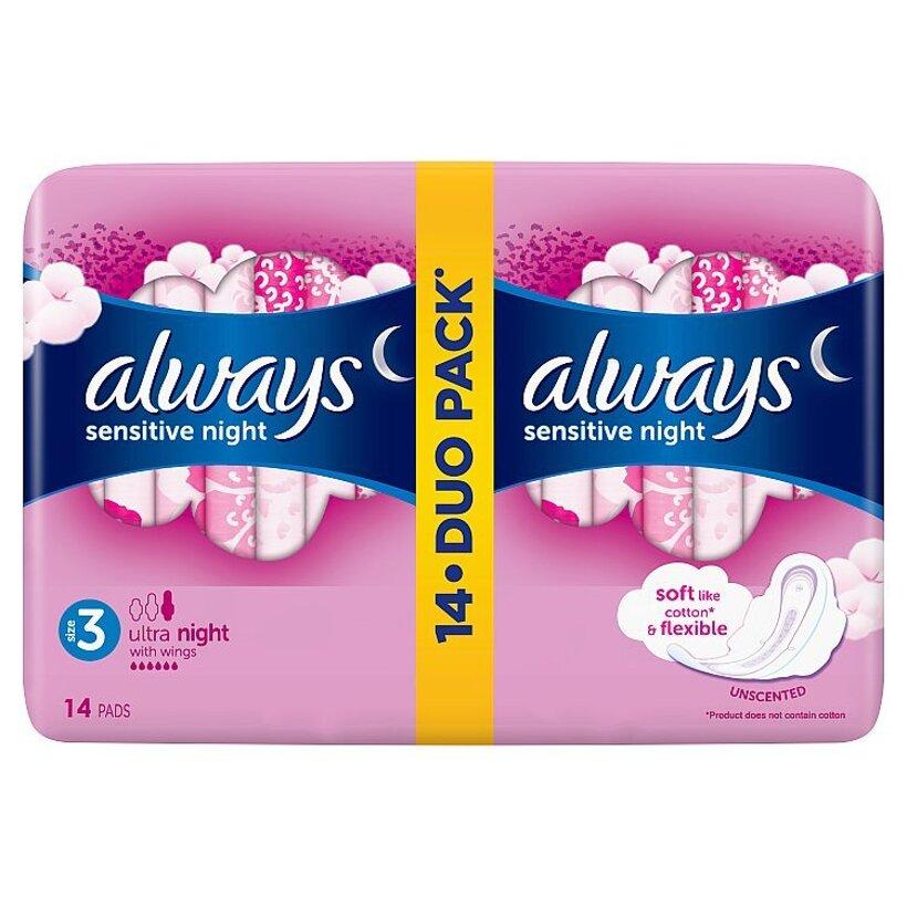 Always Ultra Sensitive Night (Veľkosť 3) Hygienické Vložky 14 ks