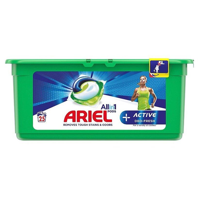 Ariel All In 1 Pods +Active Odor Defense Gélové Kapsuly Na Pranie, 25 Praní
