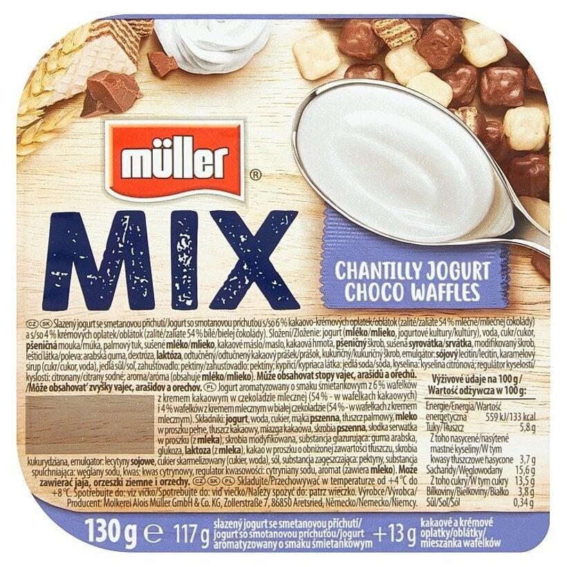 Müller Mix Chantilly Jogurt Choco Waffles jogurt so smotanovou príchuťou 130 g