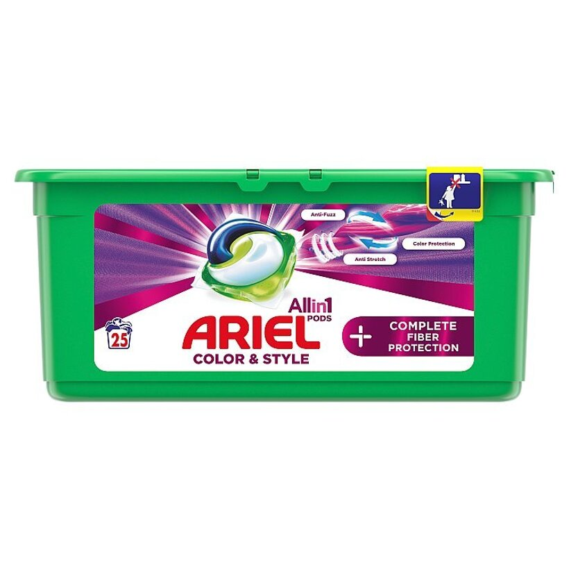 Ariel All In 1 Pods +Complete Fiber Care Gélové Kapsuly Na Pranie 25 Praní