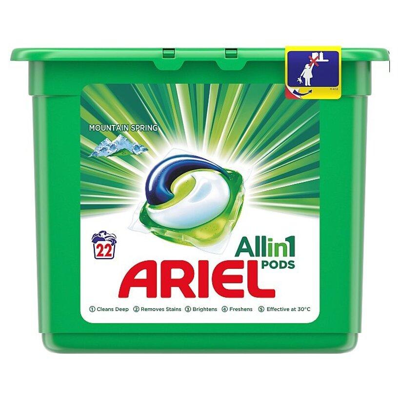 Ariel All In 1 Pods Mountain Spring, Gélové Kapsuly Na Pranie, 22 Praní