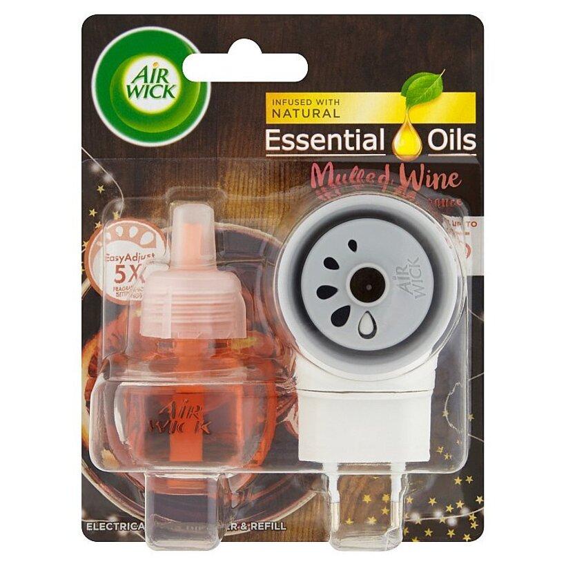 Air Wick Essential Oils Elektrický osviežovač vzduchu strojček a náplň vôňa vareného vína 19 ml