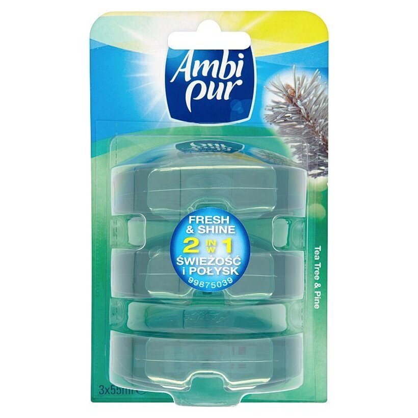 Ambi Pur Fresh & shine 2v1 tea tree & pine tekutý toaletný blok 3 x 55 ml