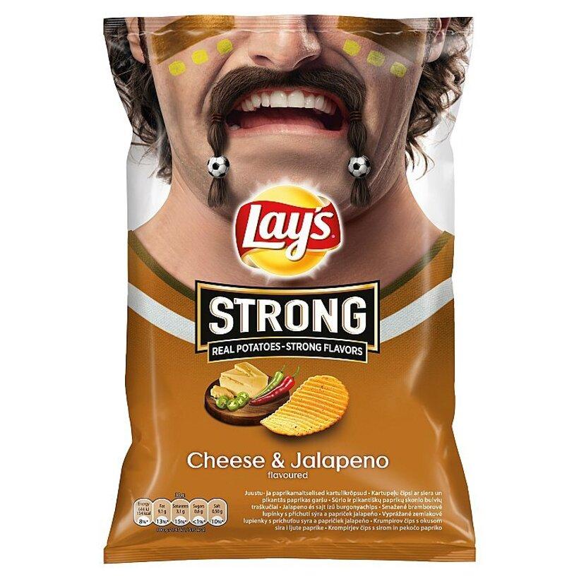 Lay's Strong Vyprážané zemiakové lupienky s príchuťou syra a papričiek jalapeňo 77 g