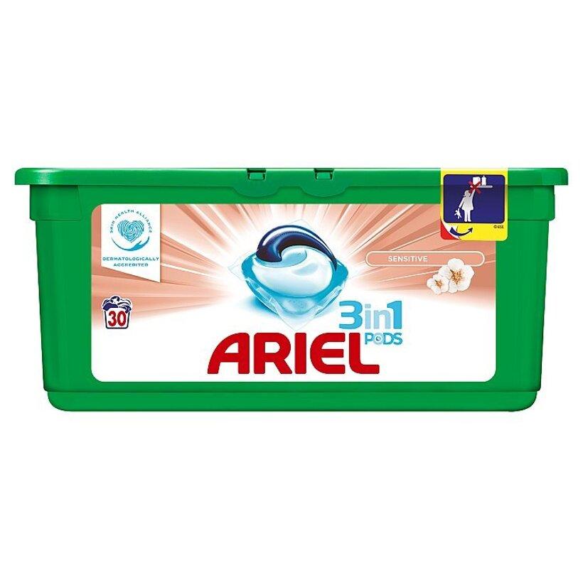 Ariel Sensitive 3v1 gélové kapsuly na pranie bielizne, na 30 praní