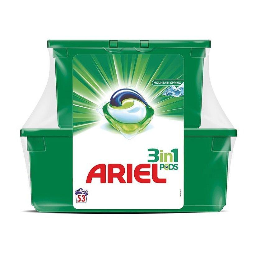 Ariel 3v1 PODS Mountain Spring Gélové Kapsuly Na Pranie, 23+30 kusov