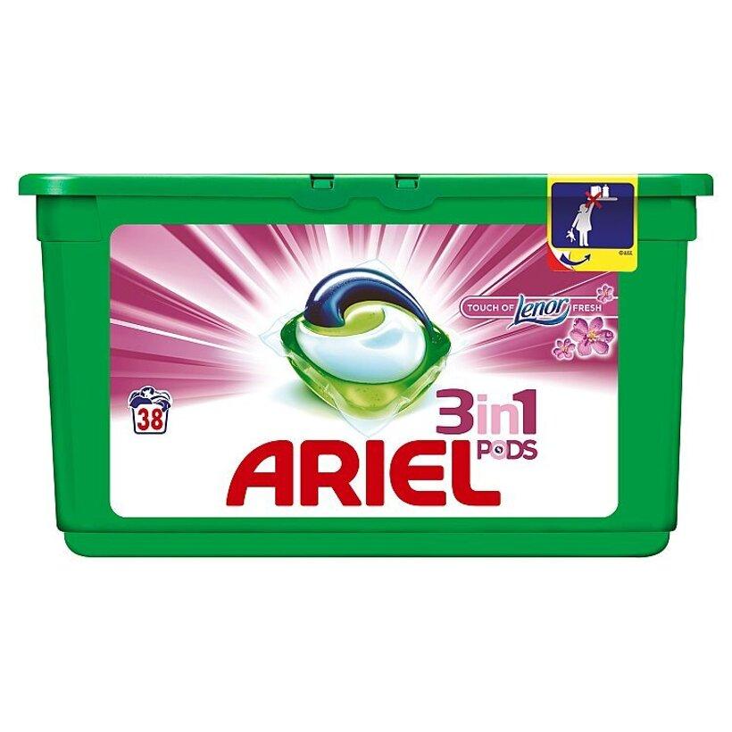 Ariel Touch of Lenor Fresh 3v1 gélové kapsuly na pranie bielizne, na 38 praní