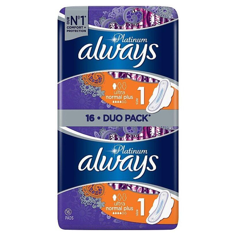 Always Platinum Normal Menštruačné Vložky S Krídelkami (Veľkost 1) 16