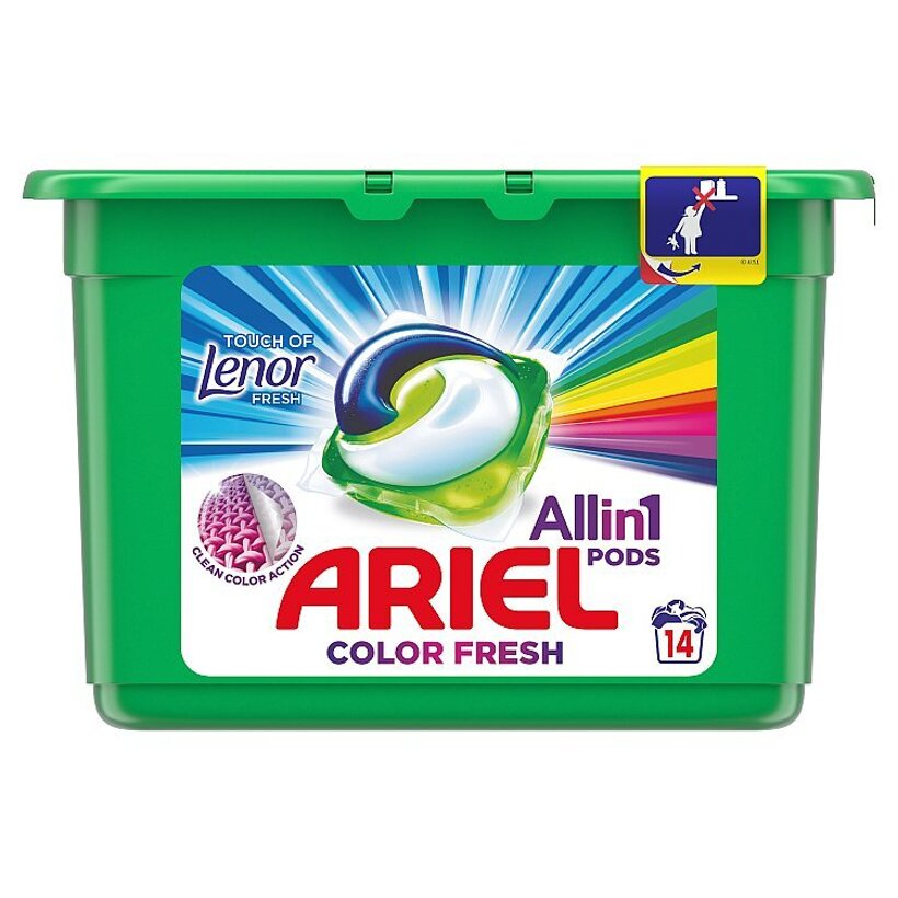 Ariel All In 1 Pods Touch Of Lenor Fresh Color, Gélové Kapsuly Na Pranie, 14 Praní
