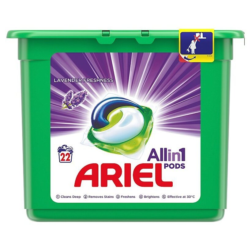 Ariel All In 1 Pods Lavender, Gélové Kapsuly Na Pranie, 22 Praní
