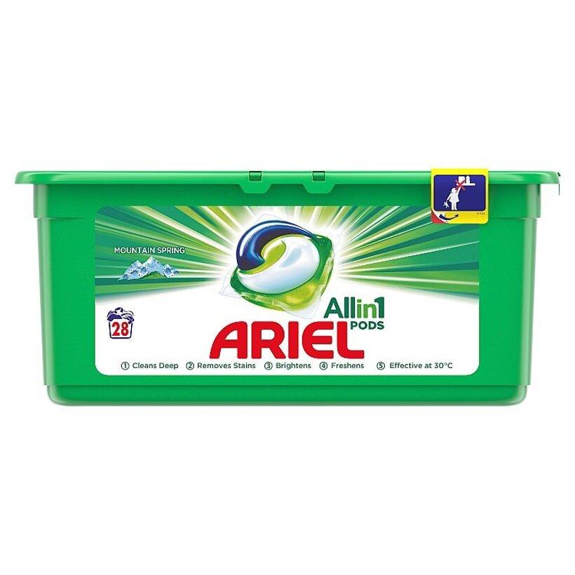 Ariel All In 1 Pods Mountain Spring, Gélové Kapsuly Na Pranie, 28 Praní