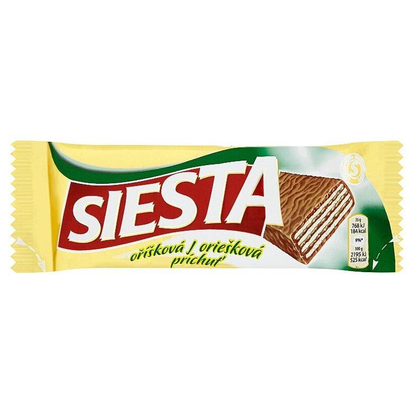 Siesta Chrumkavé oblátky s náplňou s lieskovoorieškovou príchuťou máčané v mliečnej čokoláde 35 g