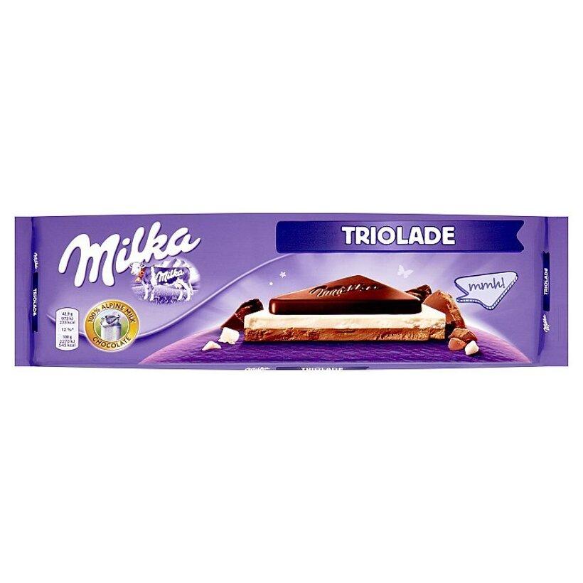 Milka Triolade mliečna čokoláda z alpského mlieka, biela čokoláda a tmavá mliečna čokoláda 300 g