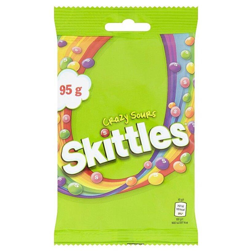 Skittles Crazy Sours žuvacie cukríky v cukrovej vrstve s kyslými ovocnými príchuťami 95 g
