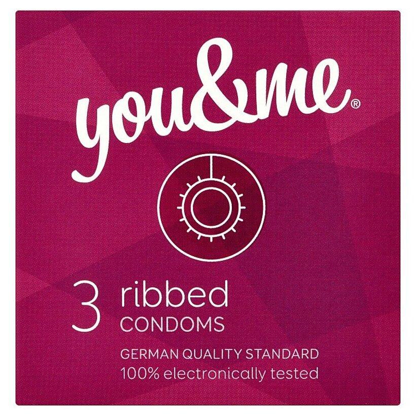 you & me ribbed vrúbkované kondómy 3 ks