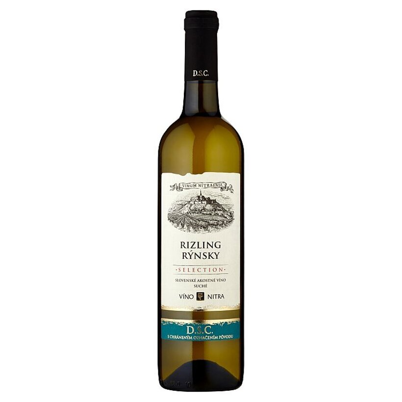 Víno Nitra Selection Rizling rýnsky slovenské akostné víno biele suché 0,75 l