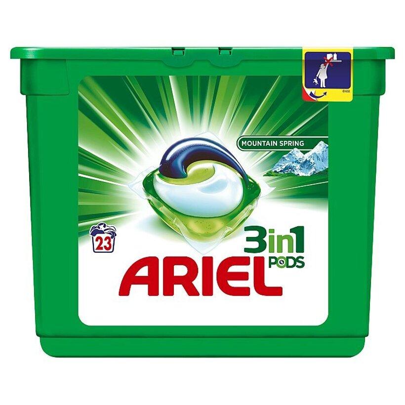Ariel Mountain Spring 3v1 gélové kapsuly na pranie bielizne, na 23 praní