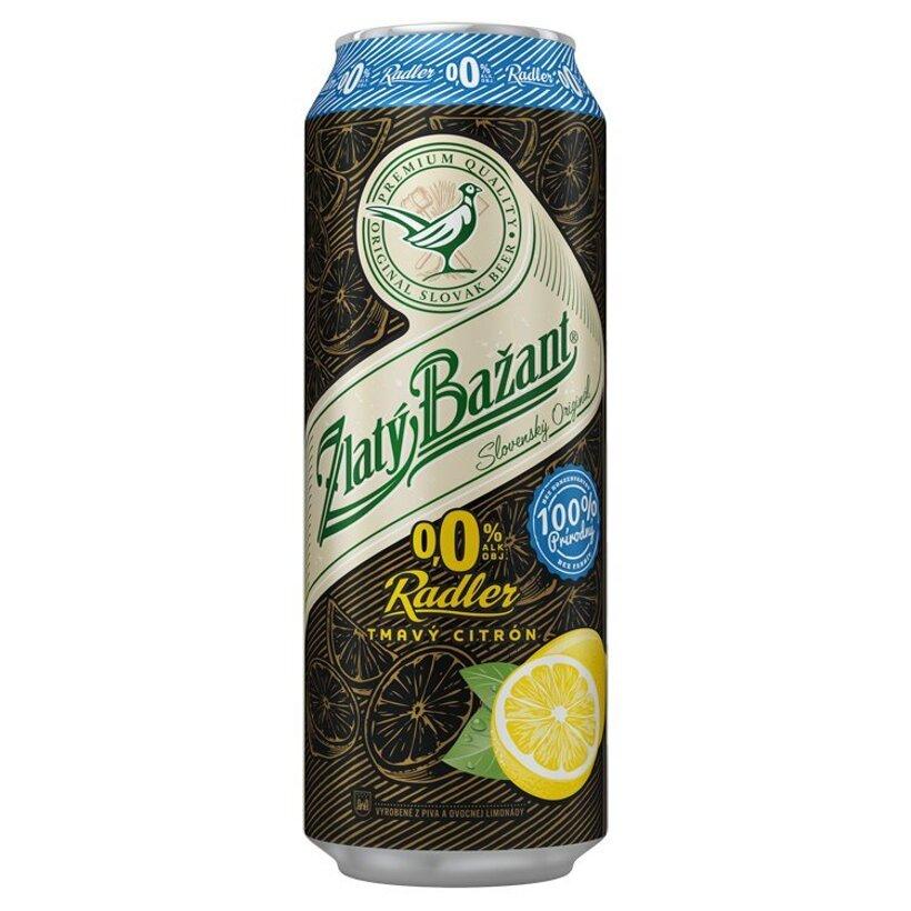 Zlatý Bažant Radler 0,0% tmavý citrón 500 ml