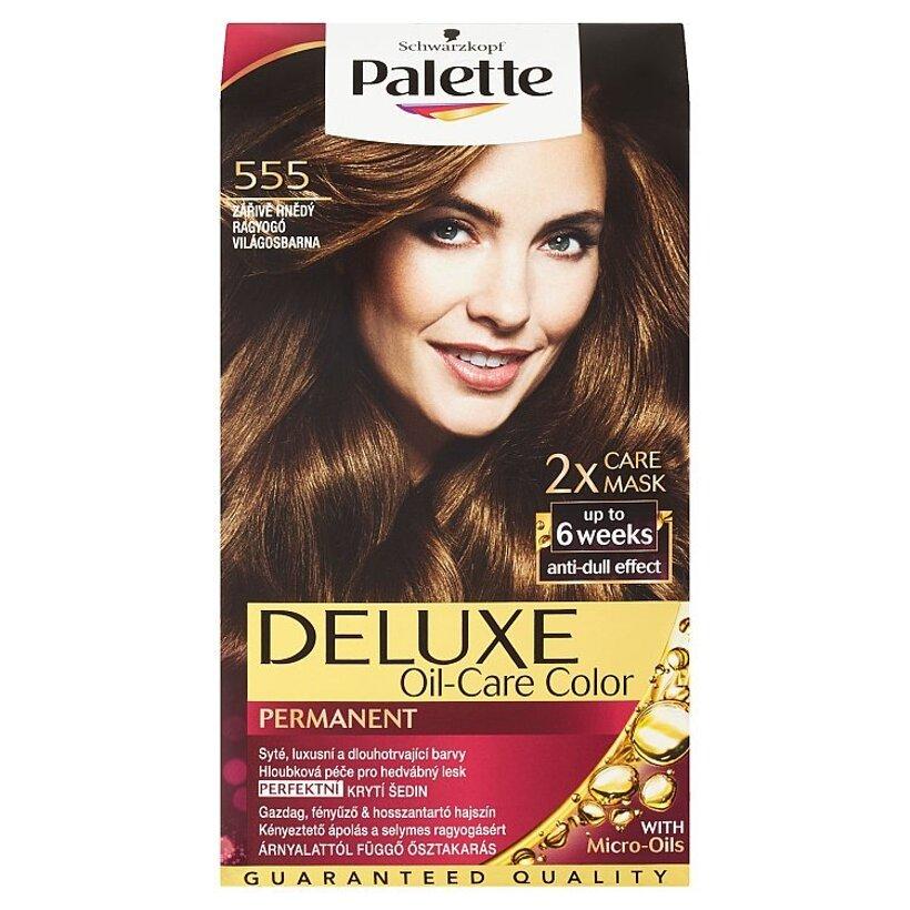 Schwarzkopf Palette Deluxe farba na vlasy Žiarivozlatý Karamel 555