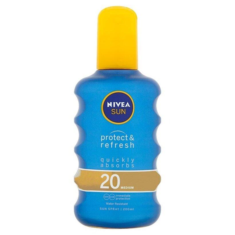 Nivea Sun Protect & Refresh Neviditeľný sprej na opaľovanie OF 20 200 ml