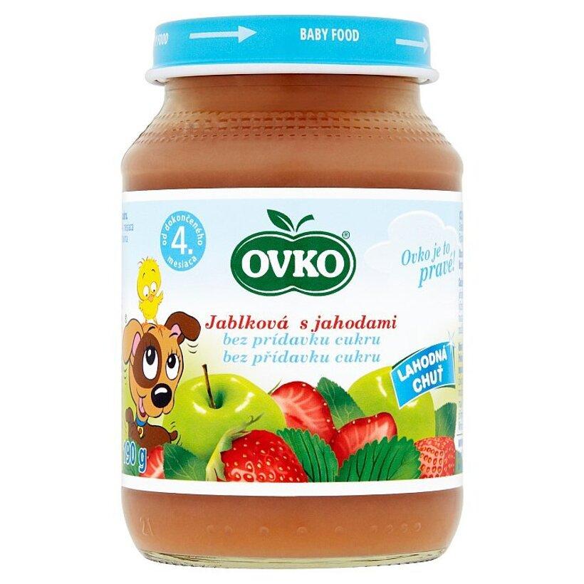 Ovko Dojčenská výživa jablková s jahodami bez pridaného cukru 190 g
