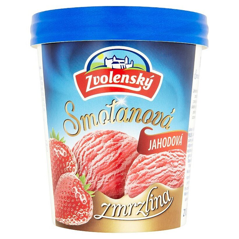 Zvolenský Smotanová zmrzlina jahodová 420 ml
