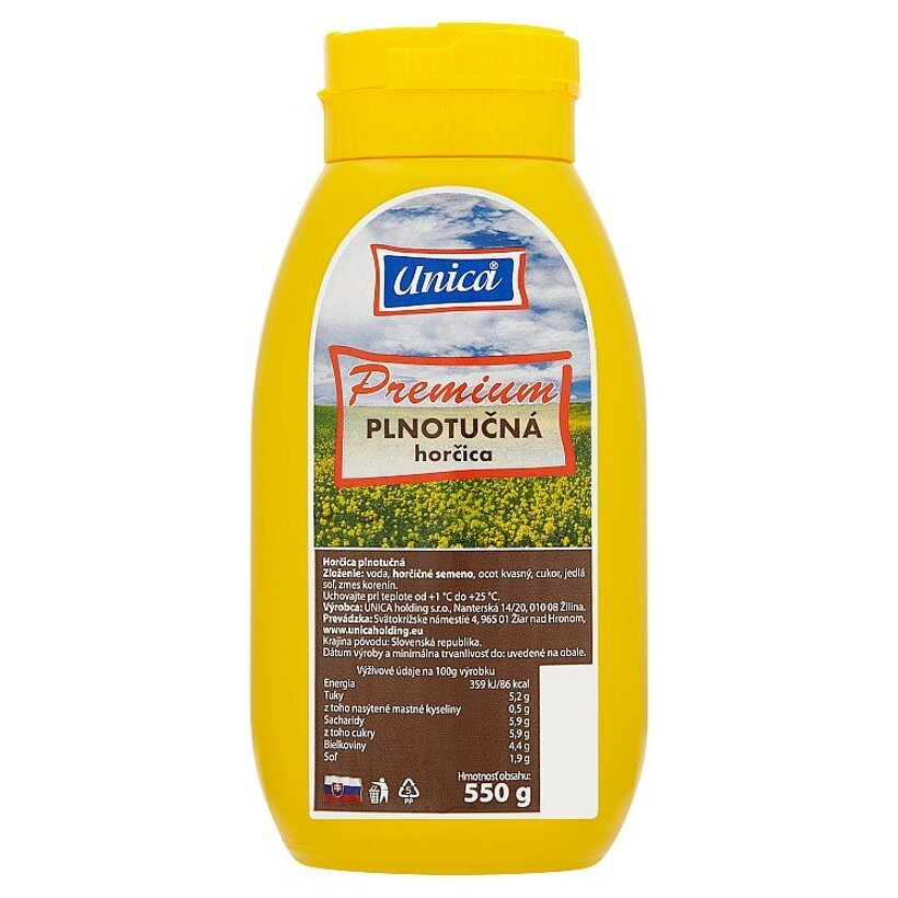 Unica Premium plnotučná horčica 550 g