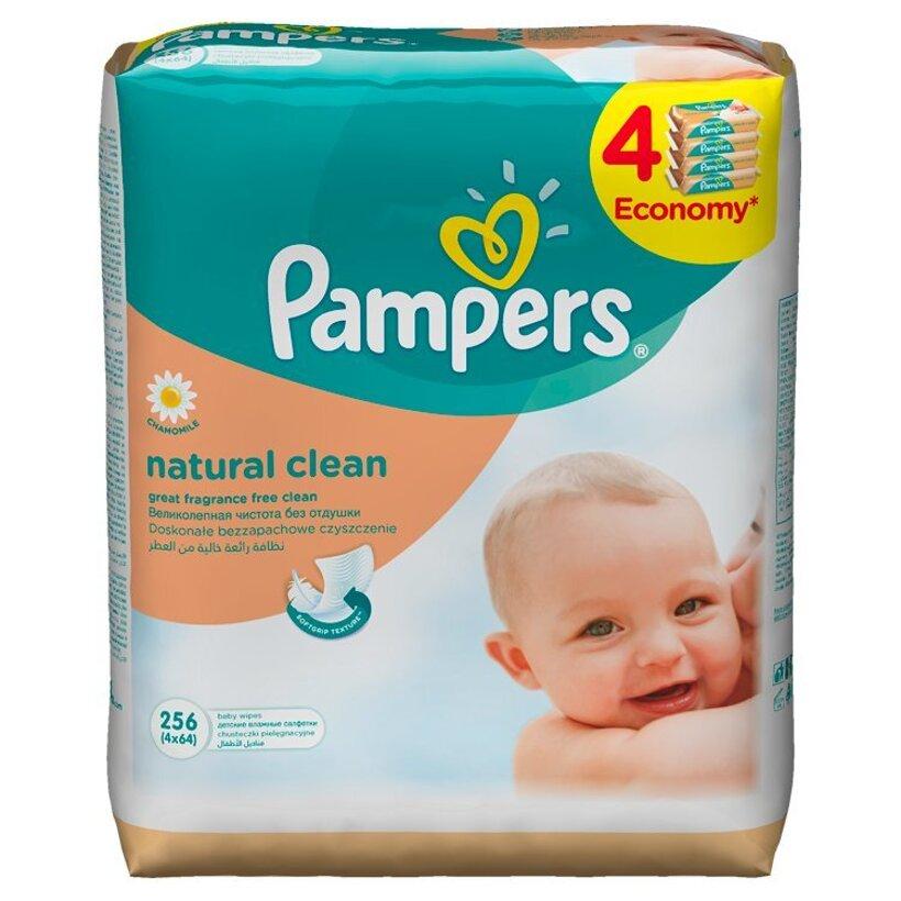 Pampers Natural clean detské čistiace obrúsky 4 x 64 ks