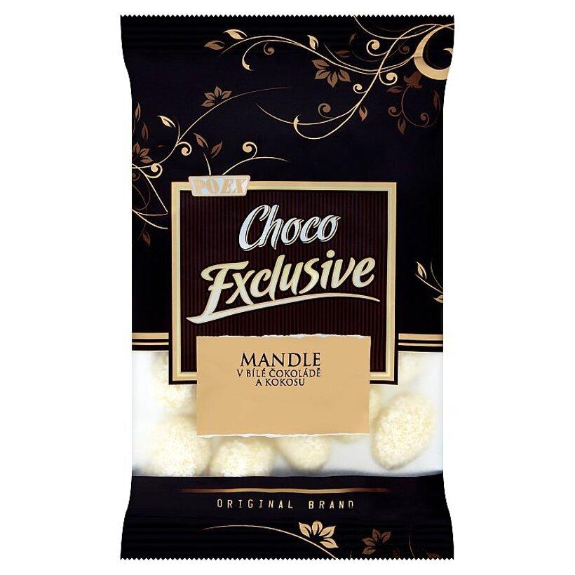 Poex Choco Exclusive Pražené jadrá mandlí v bielej čokoláde a kokose 150 g