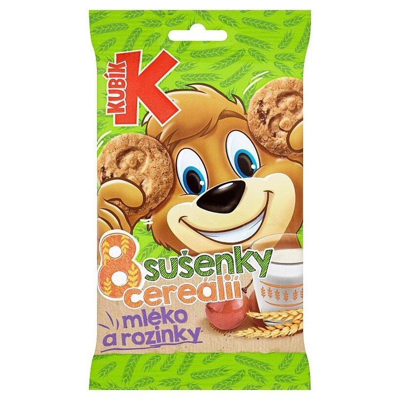 Kubík Cereálne sušienky s hrozienkami a mliekom 30 g