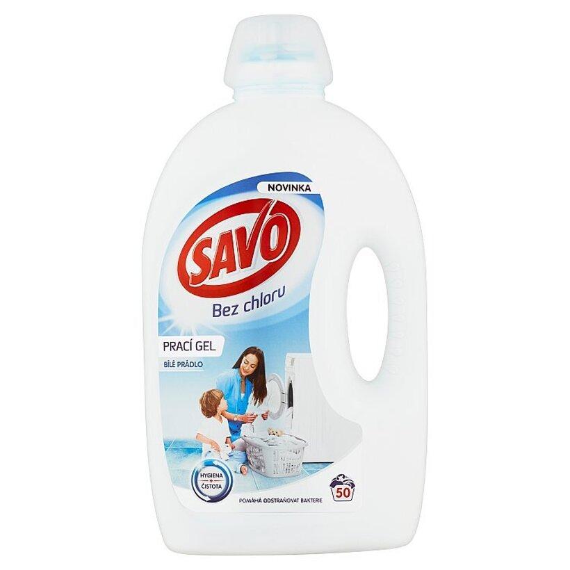 Savo Bez chlóru Gél na pranie biele oblečenie 50 praní 2,5 l