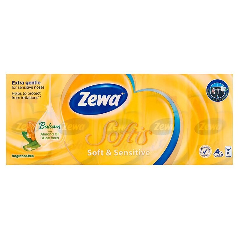Zewa Softis Soft & Sensitive papierové vreckovky 4-vrstvové 10 x 9 ks