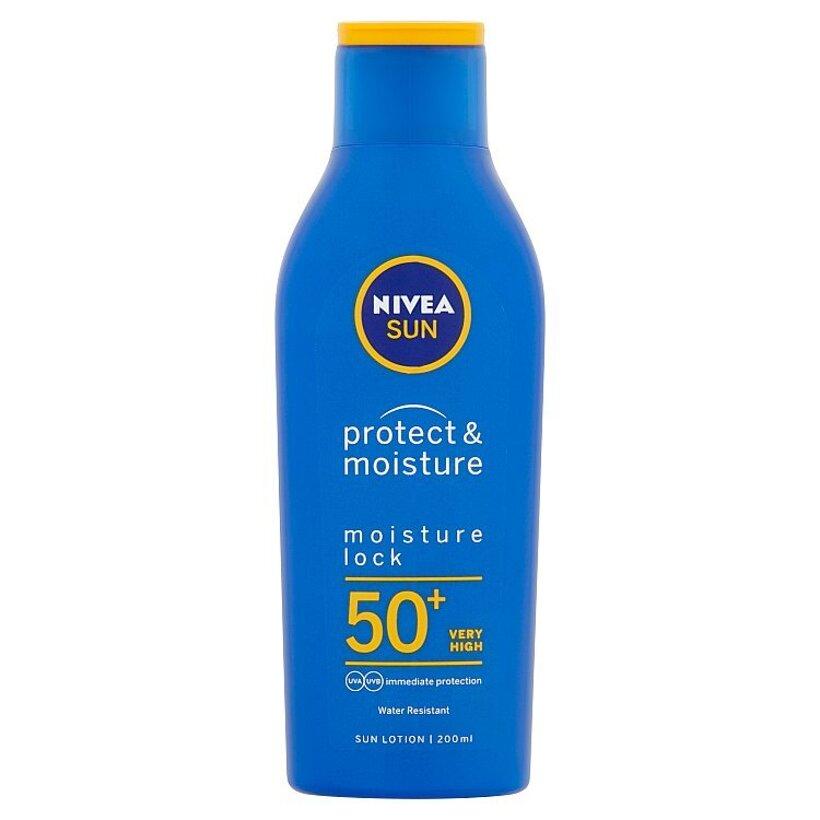 Nivea Sun Protect & Moisture Hydratačné mlieko na opaľovanie OF 50+ 200 ml