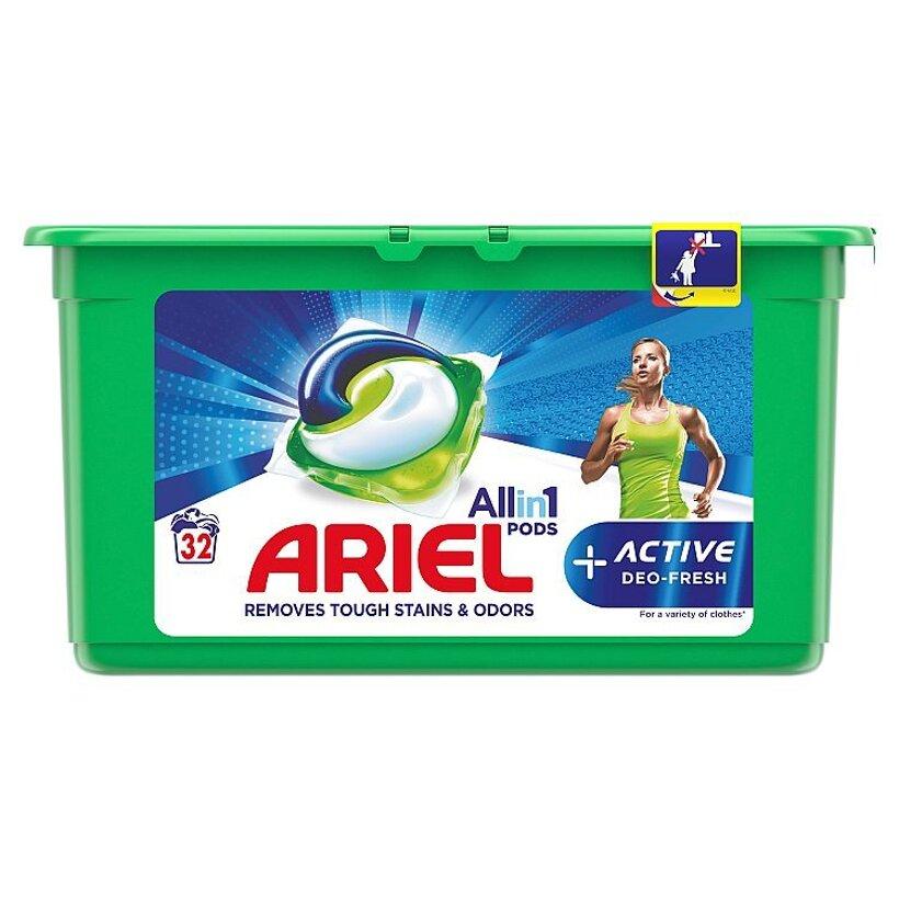 Ariel All In 1 Pods +Active Odor Defense Gélové Kapsuly Na Pranie, 32 Praní