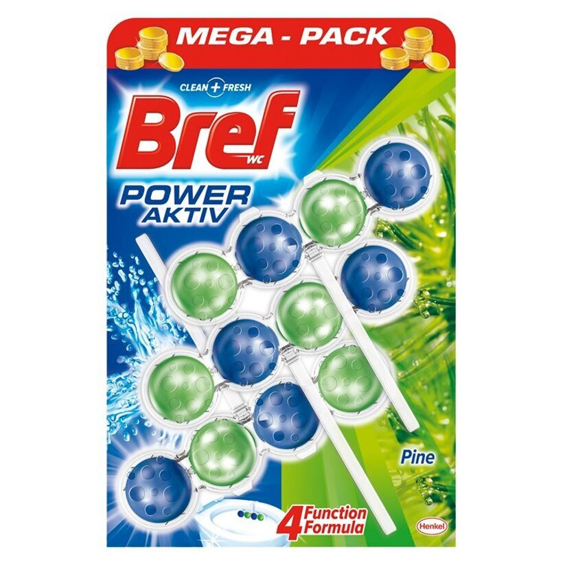 Bref Power Aktiv WC blok so 4 funkciami s vôňou borovice 3 x 50 g